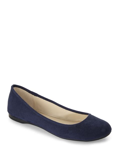 flats shoes for lyst nine west navy fedra ballet flats in blue