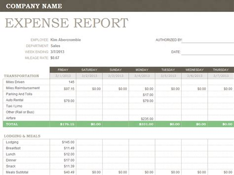 Excel Expense Report Template Free by Weekly Expense Report Template Microsoft Office Templates