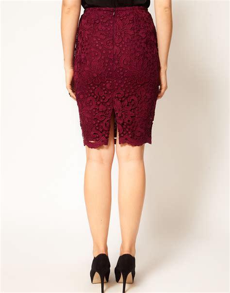 coast tomka lace pencil skirt in merlot in lyst