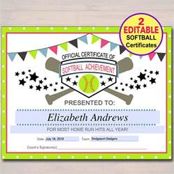 Softball Certificate Templates by Editable Softball Certificates Instant Softball