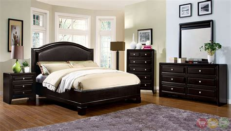 espresso king bedroom set winsor contemporary espresso platform bedroom set with padded leatherette headboard cm7058