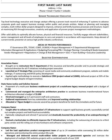 Technology Executive Sle Resume by Senior Technology Executive Resume Sle Template