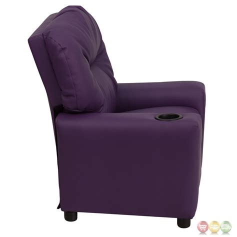 childs recliner with cup holder contemporary purple vinyl kids recliner with cup holder bt