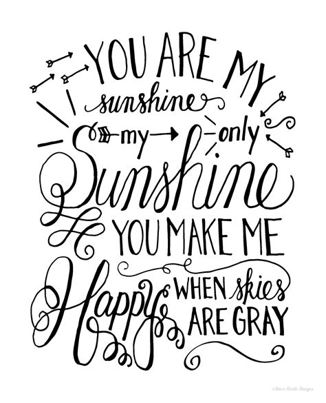 coloring pages wall art hand lettered you are my sunshine print dawn nicole designs 174