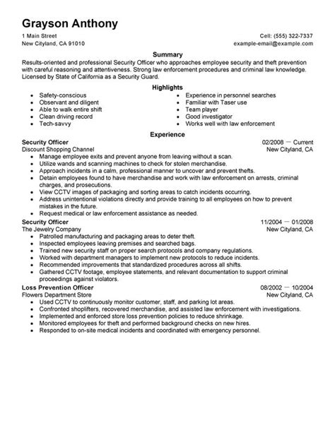 10 professional security officer resume sle writing resume sle writing resume sle