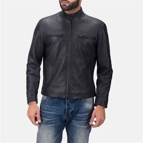 black leather biker jacket s austere matte black leather biker jacket