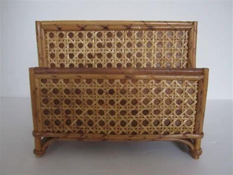 Rattan Desk Accessories Vintage Bamboo And Rattan Letter Holder Or Desk Organizer 1970s At 1stdibs