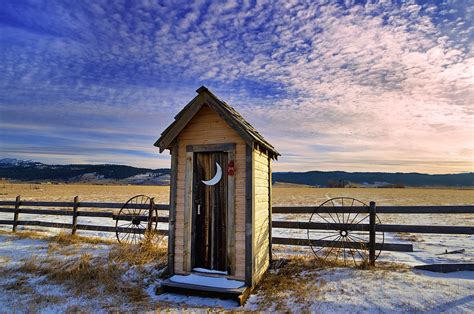 House Designs Free Winter Outhouse Out In A Field Covered With Snow Is This