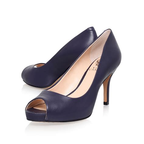 Top Five Navy Heels by Vince Camuto Kiley Navy Mid Heel Peep Toe Shoes By Vince