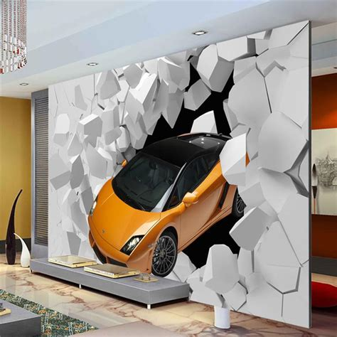 Car Wallpaper For Bedroom by 3d Sports Car Photo Wallpaper Wall Mural Unique