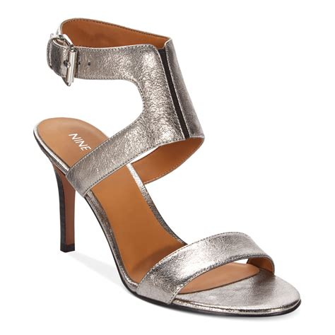 grey dress sandals nine west izolla dress sandals in gray black lyst