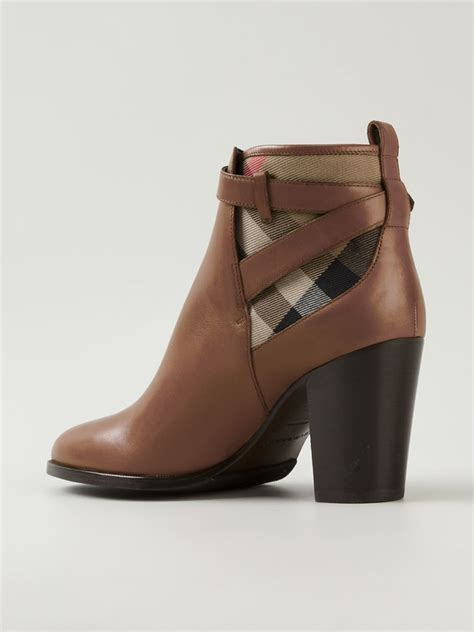 burberry house check ankle boots in brown lyst