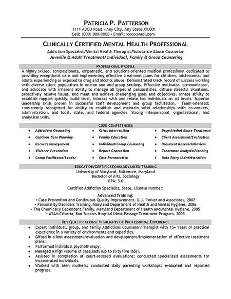 Mental Health Resume by Mental Health Resume Sle Career Resume