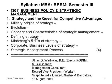 Retail Management Notes For Mba by Business Policy Strategic Management Notes 2011 12
