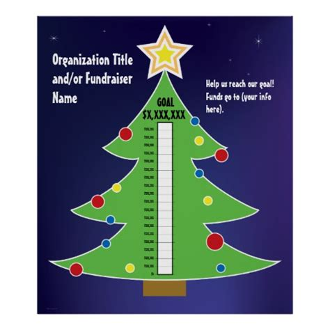 tree fundraising thermometer template poster zazzle