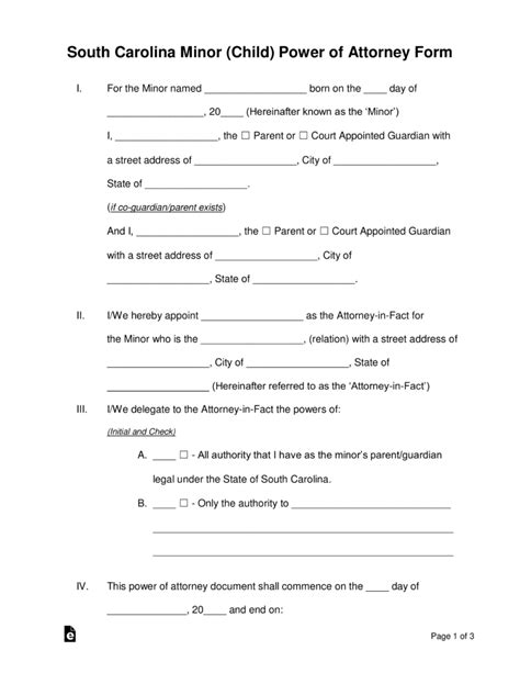 Free South Carolina Guardian Of Minor Power Of Attorney Form Pdf Word Eforms Free South Carolina Will Template