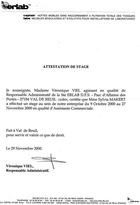 Attestation De Stage Lettre Type Modele Attestation Stage