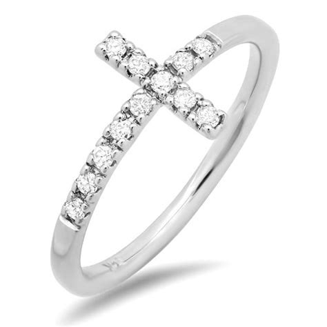 white sideways cross ring