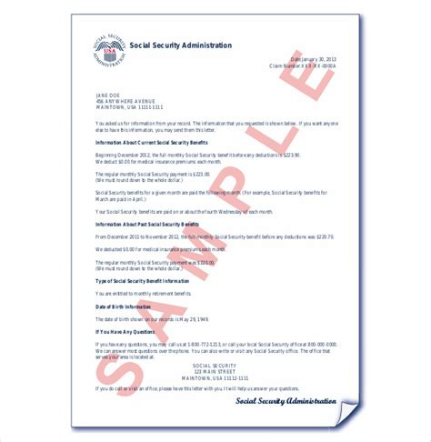 Award Letter Of Benefits Statement Social Security Award Letter Sle Template
