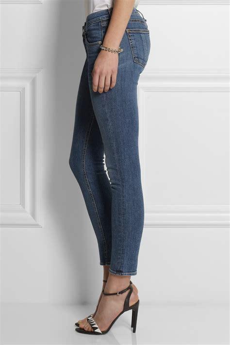 lyst rag bone capri cropped mid rise skinny jeans  blue