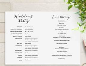 wedding program template double sided wedding ceremony