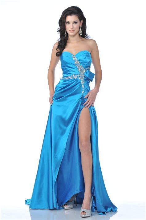 Slit Dress cd1642 strapless rhinestone detail side slit prom dress