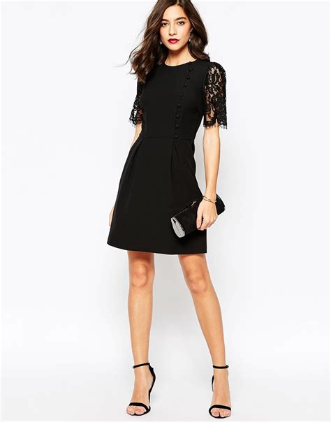 Black Florist Magda Lace Dress Bt53 warehouse lace sleeve button front dress in black lyst