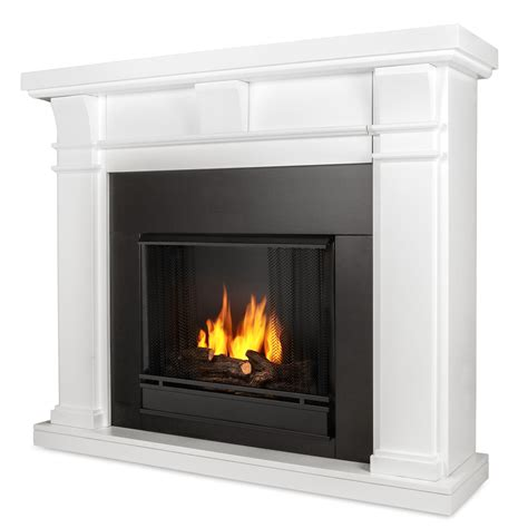 real flame porter ventless gel fireplace in white