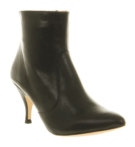 womens office dev plain ankle boot black leather boots