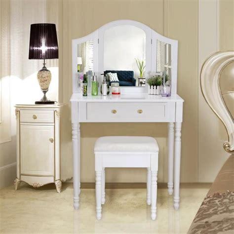 Songmics® Coiffeuse meuble blanc table de maquillage