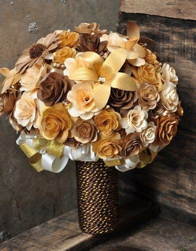 Gold Copper Brown and Ivory Wooden Bouquet   Cool wedding