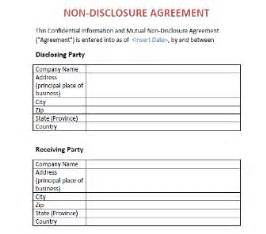 non disclosure agreement nda template template org