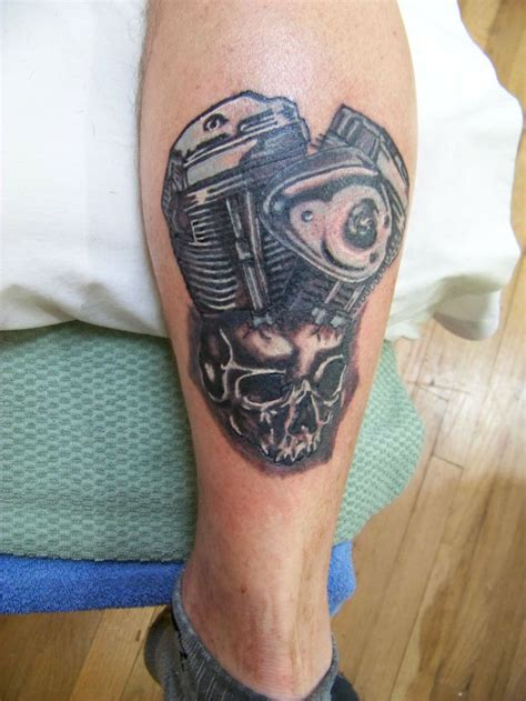 motor tattoos v motorcycle motor and skull complete 1 ink