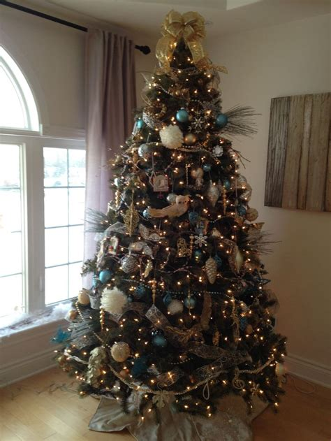 Gold silver ivory white and tiffany blue christmas tree holidays