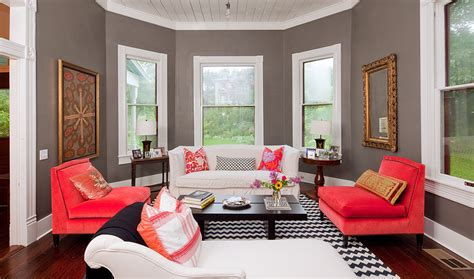 Gray Living Room With Pop Of Color Colour Matches Coral And Grey On