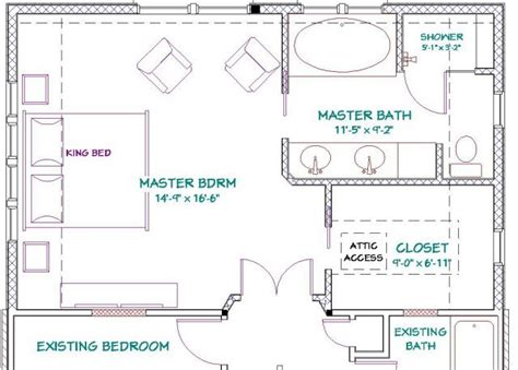Master Bedroom And Bath Addition Floor Plans | master bathroom floor plans addition to 1 1 2 story home