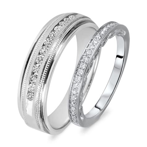 his and hers wedding bands 3 8 carat t w cut his and hers wedding band set 14k white gold my trio rings