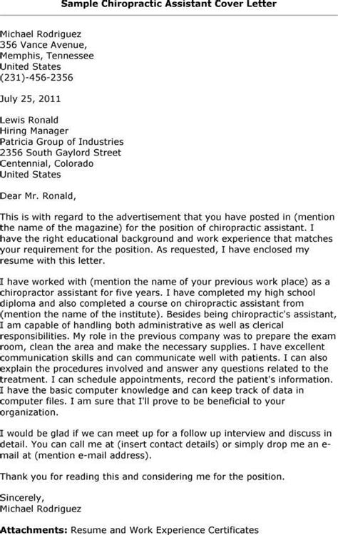 what is and how to make cover letter for chiropractic assistant cover letter resume exles