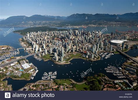 5 themes of geography vancouver aerial view of downtown vancouver bc canada stock photo