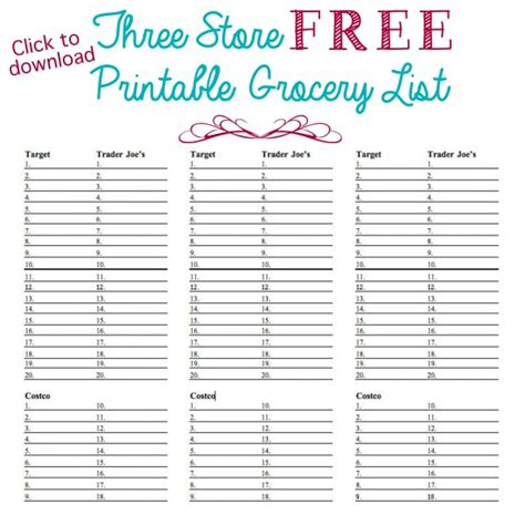 organized grocery list template organized grocery list free printable and store