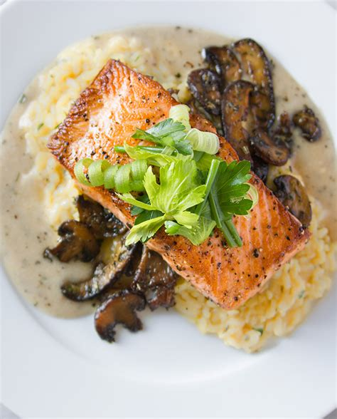 salmon and risotto make ahead risotto recipe with mushrooms and baked salmon