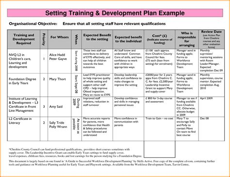 development plan template template personal development
