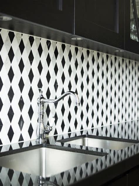 grey patterned splashback black and white geometric diamond tiles patterned splash