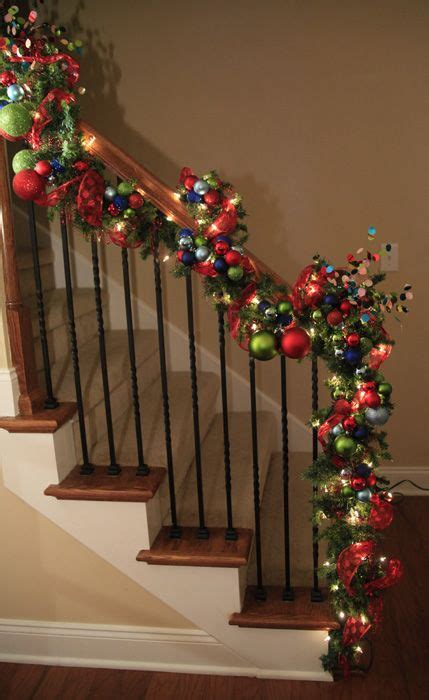 christmas garland on banister pin by candy namynanik on over the moon pinterest