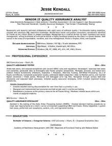 News Quality Analyst Sle Resume by Quality Assurance Resume Exle