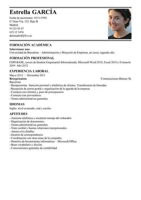 Plantilla De Curriculum En Catala Modelo De Curr 237 Culum V 237 Tae Recepcionista Recepcionista Cv Plantilla Livecareer