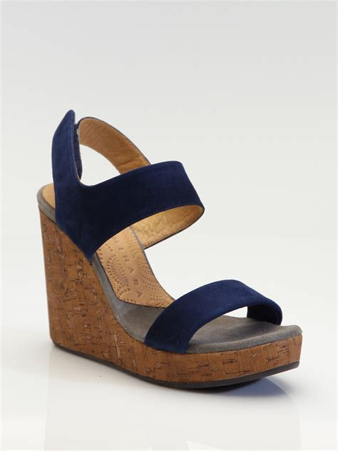 navy blue sandals chie mihara suede cork wedge sandals in blue navy lyst