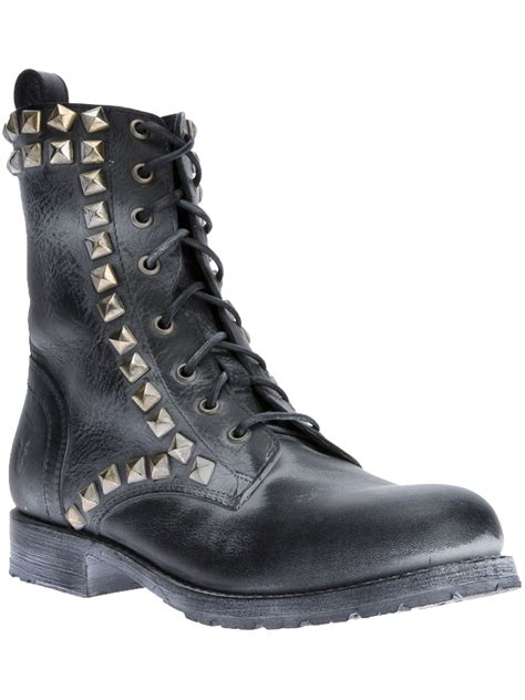 frye rogan biker boots in black lyst