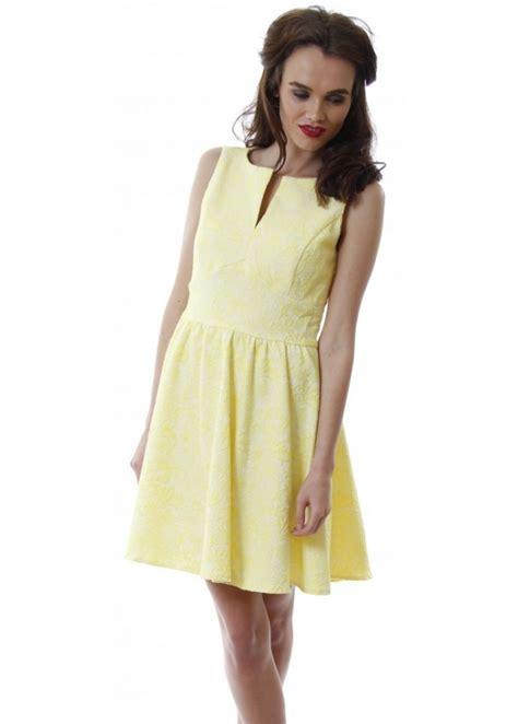 yellow geometric pattern skater dress lucy paris dress yellow skater dress sleeveless floral
