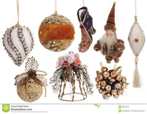 festive decorations set of christmas vintage festive decorations isolated on